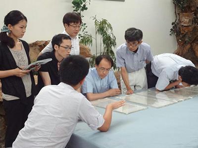 <p> 上海博物館における実見の様子。   左手前の背中の人物が葛亮氏。</p>
